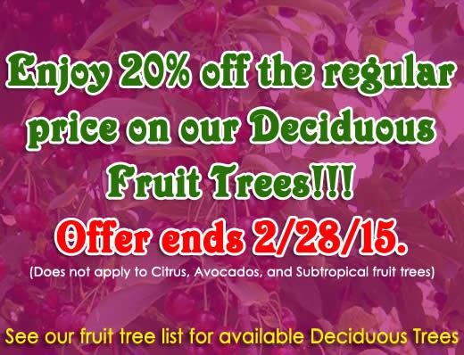 2015 Fruit tree list